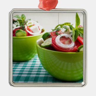 Two portions of useful vegetarian meal metal ornament