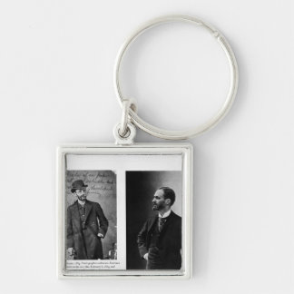 Two portraits of George Eastman  1884 and 1890 Silver-Colored Square Keychain