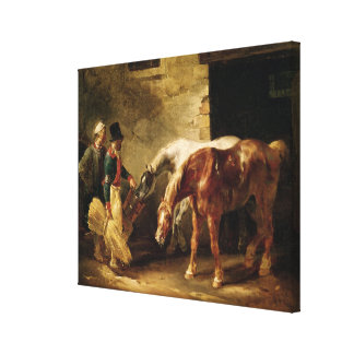 Two Post Horses at the Door of a Stable Stretched Canvas Print