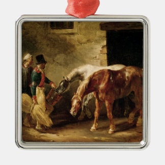 Two Post Horses at the Door of a Stable Square Metal Christmas Ornament