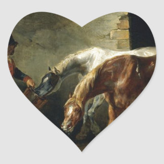 Two post-horses at the stable by Theodore Gericaul Heart Sticker