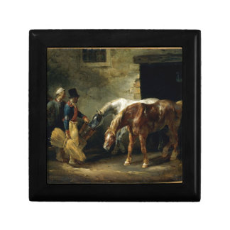 Two post-horses at the stable by Theodore Gericaul Jewelry Box