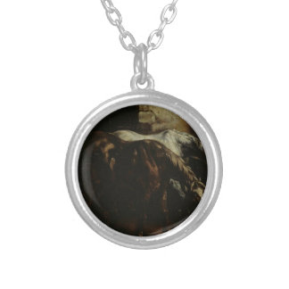 Two post-horses by Theodore Gericault Round Pendant Necklace