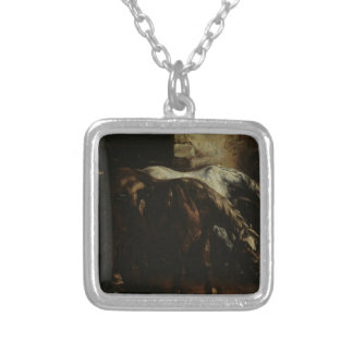 Two post-horses by Theodore Gericault Square Pendant Necklace