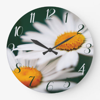 Two pretty daisies. Arabic numerals. Large Clock
