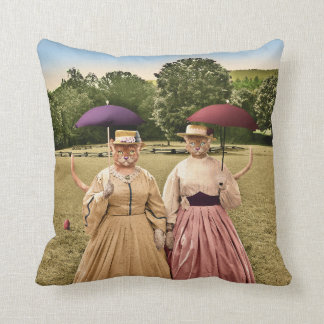 Two Pretty Kitties Out for a Stroll! Pillow