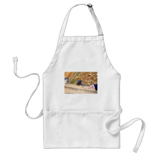 Two pretty little kitten played with a stick adult apron