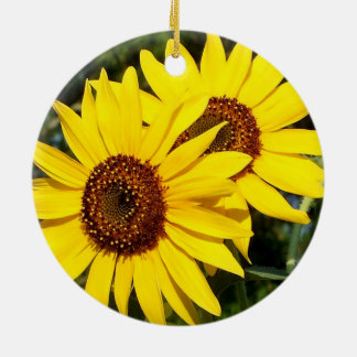 Two Pretty Yellow Sunflowers in the Round Ornament