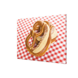 Two pretzel on checkered tablecloth gallery wrap canvas
