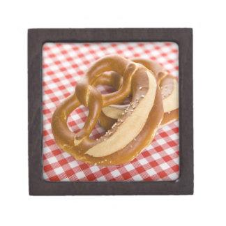 Two pretzel on checkered tablecloth premium trinket boxes
