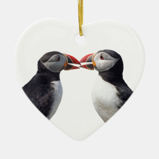 Two puffins Double-Sided heart ceramic christmas ornament