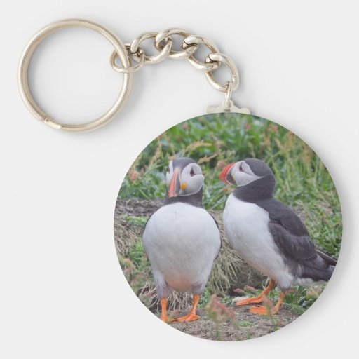 Two Puffins from Skomer Island Key Chain