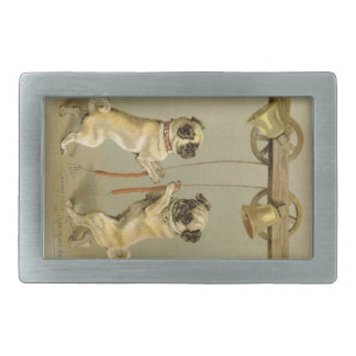 Two pug dogs ringing the Christmas bells Rectangular Belt Buckle