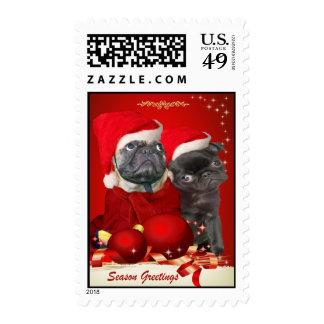Two Pug Santa Season Greeting Postage