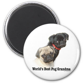 Two Pugs 2 Inch Round Magnet