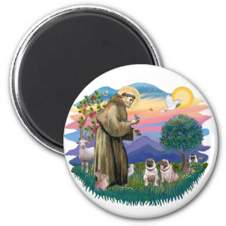Two Pugs (fawn) 2 Inch Round Magnet