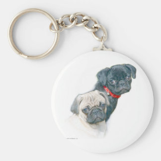 Two Pugs Key Chain