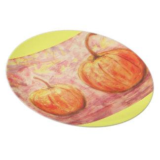 two pumpkins art dinner plate