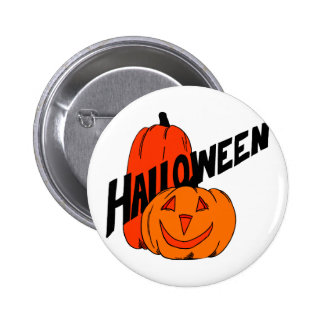 two pumpkins halloween black text pinback button