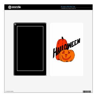 two pumpkins halloween black text kindle fire skin
