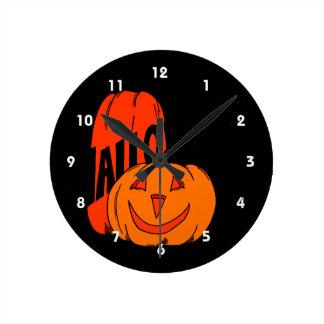 two pumpkins halloween black text round wall clocks