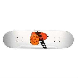 two pumpkins halloween black text skate board decks