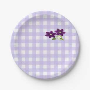 Two Purple Clematis Flowers on Lavender Paper Plate