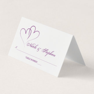 Two Purple Hearts Intertwined Place Card
