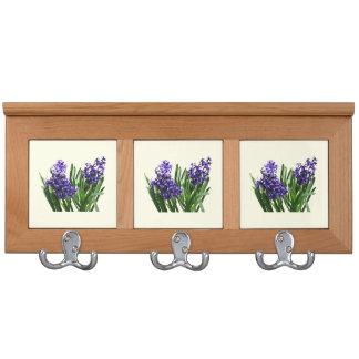 Two Purple Hyacinths Coat Rack