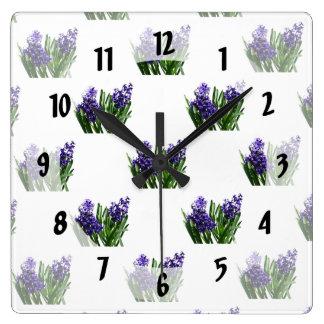 Two Purple Hyacinths Square Wall Clock