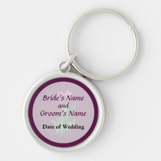 Two Purple Tulips Wedding Favors Keychain