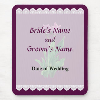 Two Purple Tulips Wedding Favors Mouse Pad