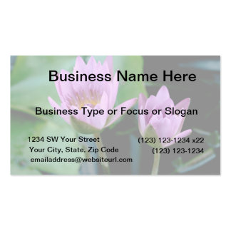 two purple water lilies business card