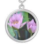 two purple water lilies custom necklace