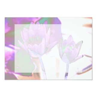 two purple water lilies invert solarized card