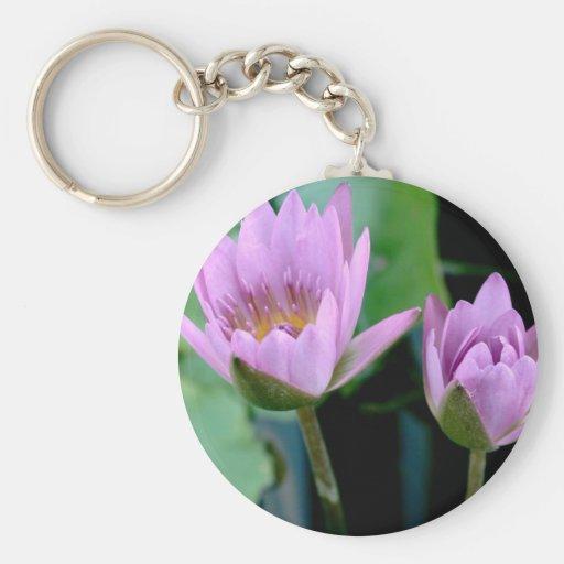 two purple water lilies keychain