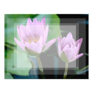 two purple water lilies letterhead