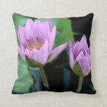 two purple water lilies throw pillow