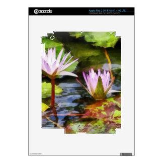 Two Purple Water Lotus iPad 3 Decal