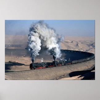 Two QJs on edge of Gobi Desert, China Poster