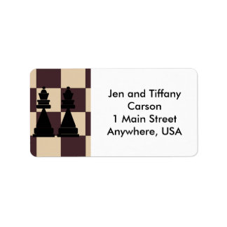 Two Queens Chess Pieces Address Labels