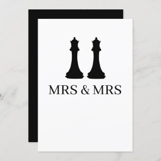 Two Queens Chess Pieces Lesbian Wedding Announcement