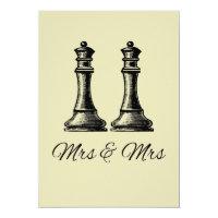 Two Queens Lesbian Wedding Invitation