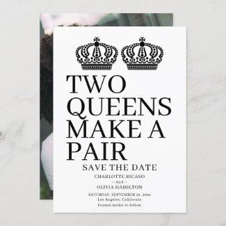 Two Queens Make A Pair Gay Lesbian Wedding Announcement