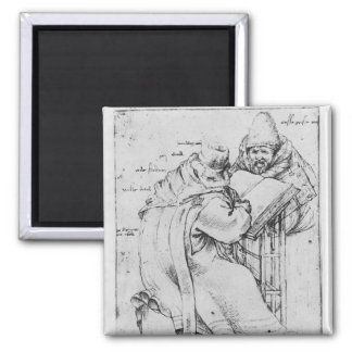 Two Rabbis 2 Inch Square Magnet