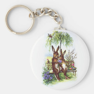 Two Rabbits on a Bench Basic Round Button Keychain