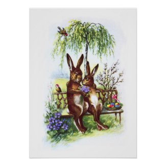 Two Rabbits on a Bench
