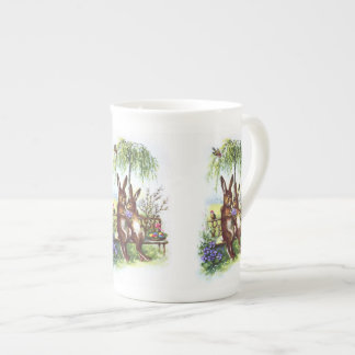 Two Rabbits on a Bench Tea Cup