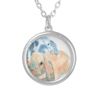 Two Rabbits Silver Plated Necklace