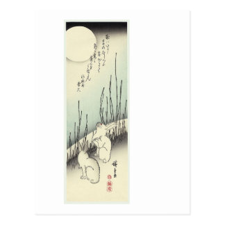 Two Rabbits Under a Full Moon Postcards